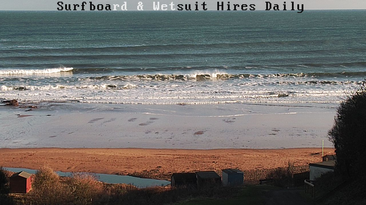Head high waves at Coldingham Bay