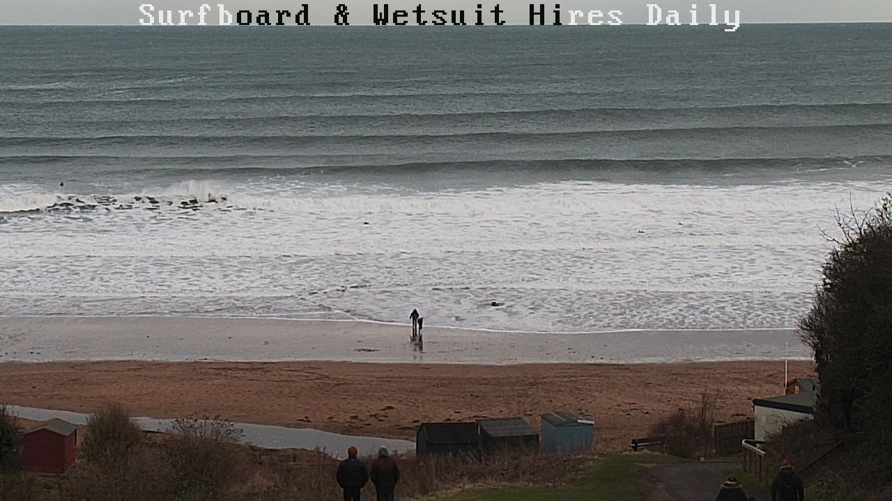 Chest high waves at Coldingham Bay