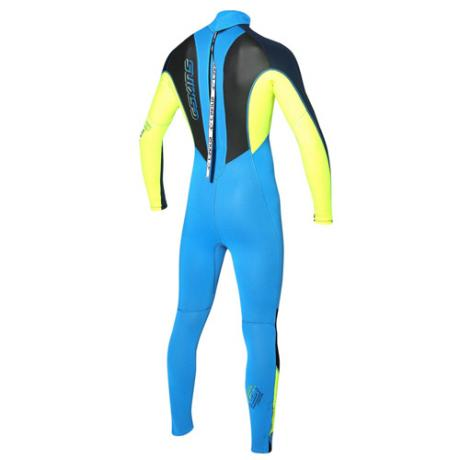 C-skins Junior 3-2mm Element Wetsuit Back - Blue/Yellow
