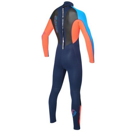 C-skins Junior 3-2mm Element Wetsuit Back - Red/Navy