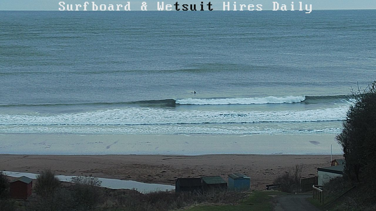 Waist high waves at Coldingham Bay