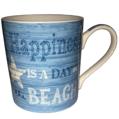 'Happiness is a day at the beach' mug