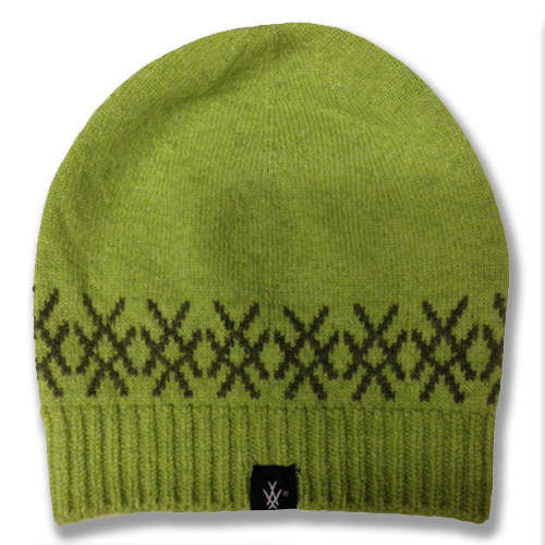 Snug fit logo beanie in kiwi with landscape logo design