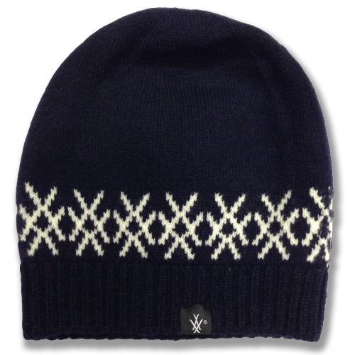 Snug fit logo beanie in navy with white design