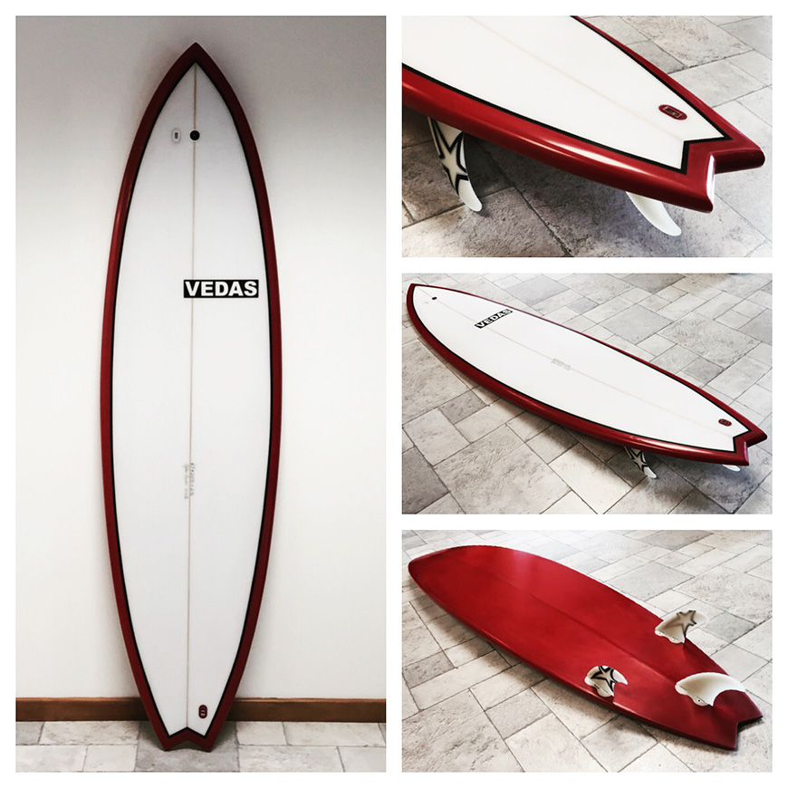 NSP surfboard bottom damage repaired at st vedas surf shop