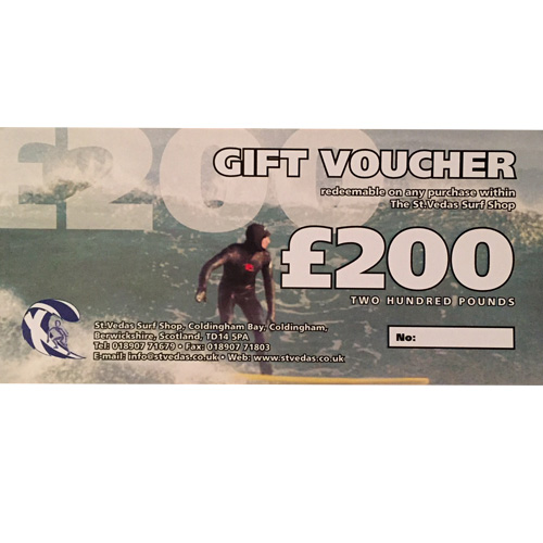 Two Hundred Pound Gift Voucher St Vedas Surf Shop
